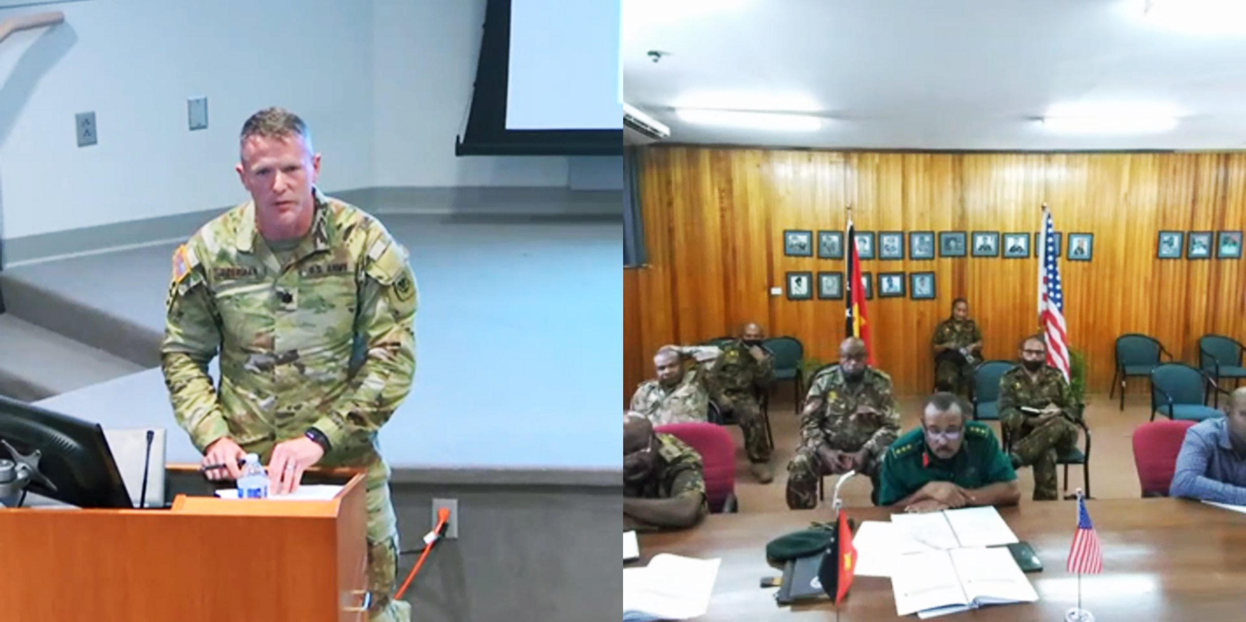 Lt. Col. Brion Aderman, Wisconsin National Guard director of domestic operations, discussing humanitarian assistance and disaster response practices, and domestic operations, with members of the Papua New Guinea Defense Force May 26 during a three-day State Partnership Program workshop with Papua New Guinea in Witmer Hall at Joint Force Headquarters in Madison, Wis. The State Partnership Program links individual states with armed forces of partner nations around the world to forge lasting cooperation, friendship, and mutually beneficial relationships. The 32nd Division, which included most of the Wisconsin National Guard at the time, fought the Japanese in Papua New Guinea during World War II. Screen capture