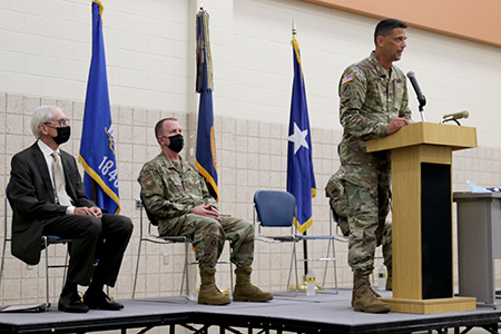 Col. John Morgen, commander of Joint Task Force 64, speaks during a ceremony Aug. 24 at the Armed Forces Reserve Center in Madison, Wis., honoring Wisconsin National Guard troops who have supported the state's COVID-19 response efforts since March 2020. Wisconsin Gov. Tony Evers proclaimed Aug. 24, 2021, as Wisconsin National Guard COVID-19 Support Recognition Day, thanking Wisconsin National Guard members for their continued efforts in the state's COVID-19 response efforts. Wisconsin Department of Military Affairs photo by Kelly Bradley