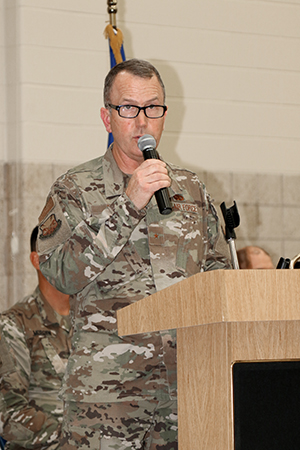 Brig. Gen. David May, Wisconsin's deputy adjutant general for Air, speaks during a ceremony Aug. 24 at the Armed Forces Reserve Center in Madison, Wis., honoring Wisconsin National Guard troops who have supported the state's COVID-19 response efforts since March 2020. Wisconsin Gov. Tony Evers proclaimed Aug. 24, 2021, as Wisconsin National Guard COVID-19 Support Recognition Day, thanking Wisconsin National Guard members for their continued efforts in the state's COVID-19 response efforts. Wisconsin Department of Military Affairs photo by Kelly Bradley