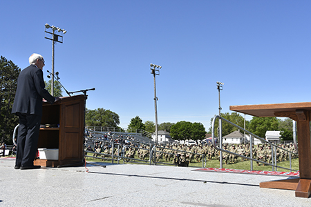 Gov. Tony Evers addresses approximately 150 Soldiers of the 107th Maintenance Company during a formal sendoff ceremony at Sparta Memorial Field in Sparta, Wis., May 29. The 107th is based in Sparta, with detachments in Viroqua, Wis., and Camp Ripley, Minn. The unit is deploying to Eastern Europe to perform maintenance and recovery operations in support of Operation Atlantic Resolve and the Defender-Europe 2021 multinational joint exercise. Wisconsin Department of Military Affairs photo by Vaughn R. Larson